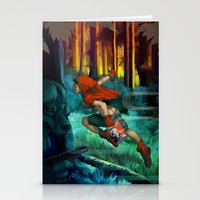 red hood Stationery Cards featuring Red Hood by Artgerm™