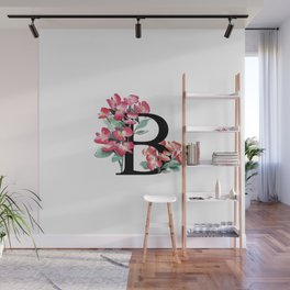 Letter 'B' Begonia Flower Monogram Typography Wall Mural