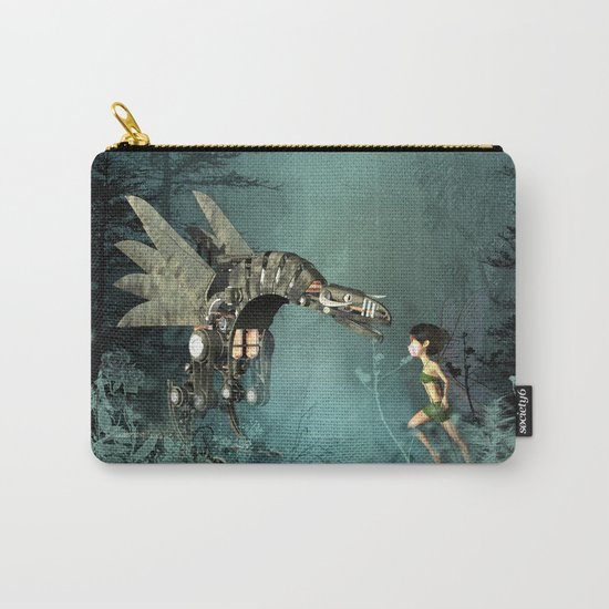 Cute fairy with steam dragon Carry-All Pouch