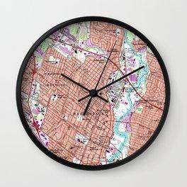 Vintage Map of Hackensack NJ (1955) Wall Clock