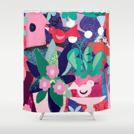 Pink Birdhouse Shower Curtain