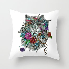Floral Wolf. Throw Pillow