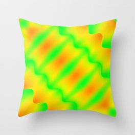Bright pattern of blurry green and yellow lines and curly patterns. Throw Pillow
