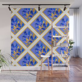 PATTERNED MODERN ABSTRACT BLUE & GOLD CALLA LILIES Wall Mural