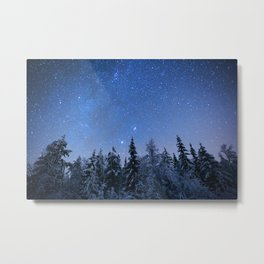 Shimmering Blue Night Sky Stars 2 Metal Print