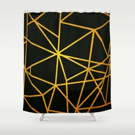 Gold Lines On Black Shower Curtain