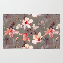 Coral Hibiscus Rug
