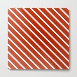 Burnt Sienna Diagonal Stripes Metal Print