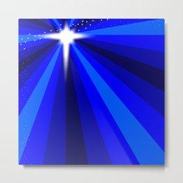 Blue Christmas Star Metal Print
