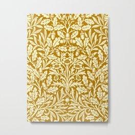 Art Nouveau Floral Damask, Mustard Yellow Metal Print