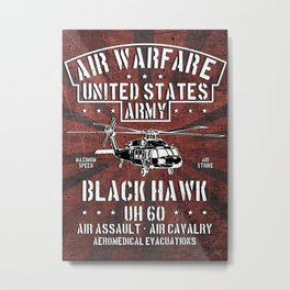 Black Hawk UH 60, USA Army Aircraft, Helicopter Chopper, Military Metal Print