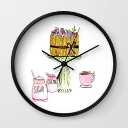 Watercolor Of Charlotte French Cake With Coffee Wall Clock