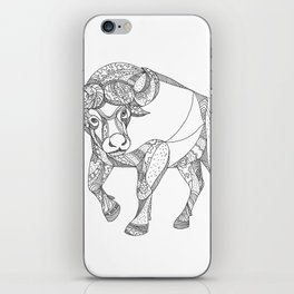 African Buffalo Charging Doodle iPhone Skin