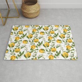 Citrus OrangeTree Branches with Flowers and Fruits Rug