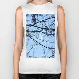 The moon through some branches Biker Tank