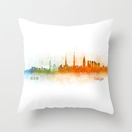 Tokyo City Skyline Hq V3 Throw Pillow