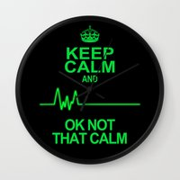keep calm Wall Clocks featuring Keep Calm by Alice Gosling