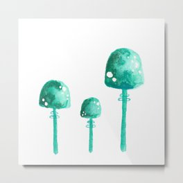 Green Mushrooms Metal Print