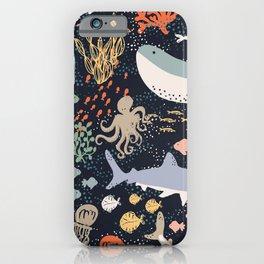Sea Ocean World Fish Whale Octopus Shark Jellyfish Star Illustration iPhone Case