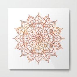 Pink & Orange Mandala on White Metal Print