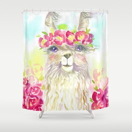 Llama in flower crown Shower Curtain