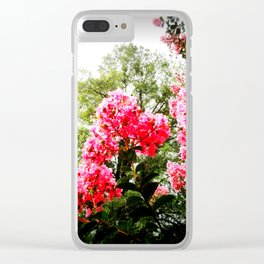 pink FLOWERS Green Leaves Clear iPhone Case
