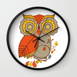 Abstract Colorful Floral Owl, Cute Owl Sticker, Terracotta Colors, Orange Yellow Gray And  Brown Wall Clock