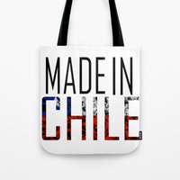 chile Tote Bags featuring Made In Chile by VirgoSpice