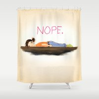 gemma correll Shower Curtains featuring NOPE by LILIOM GRAPHICS