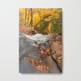 Autumn Waterfall Precipice Metal Print