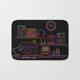 Workplace Neon vector illustration Bath Mat