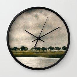 Afternoon Storm on the Coast and Salt Pond landscape by Vilhelm Hammershoi Wall Clock