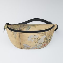 Japanese Edo Period Six-Panel Gold Leaf Screen - Spring and Autumn Flowers Fanny Pack