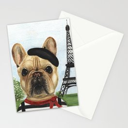 Chapo the French Bulldog in Paris Stationery Cards
