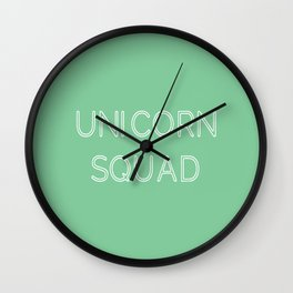 Unicorn Squad - Mint Green and White Wall Clock