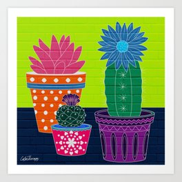 Fun With Coloring Cactus on Brick Art Print