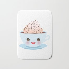 Cute blue Kawai cup, coffee with pink cheeks and winking eyes Bath Mat