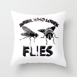 A Girl Who Loves Flies Throw Pillow