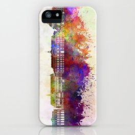 Liege skyline in watercolor background iPhone Case