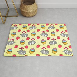 Cute happy sleeping dreaming Kawaii baby raccoon, sweet red summer strawberries and colorful rainbow yummy cupcakes sunny bright yellow design. Nursery decor. Rug