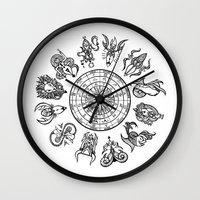 zodiac Wall Clocks featuring zodiac  by My dominance