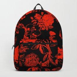 Demons N' Roses Toile in Black + Red Backpack