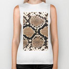 Pastel brown black white snakeskin animal pattern Biker Tank