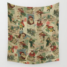 Vintage Christmas Postcard Collage Print - Santa / Stamps / Pattern / Victorian Wall Tapestry
