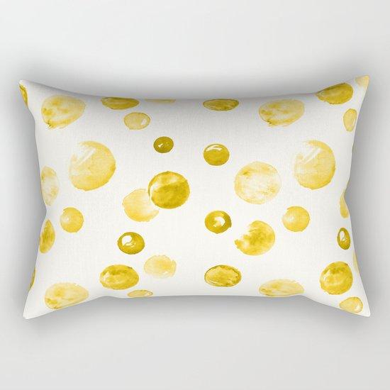 Yellow Watercolors Polka Dots Rectangular Pillow