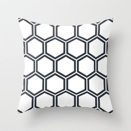 Hexagon White Throw Pillow