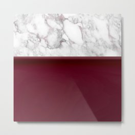 Marble Burgundy Two tone Stone design Metal Print