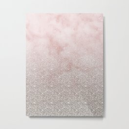 Beige glitter gradient on cotton candy clouds Metal Print