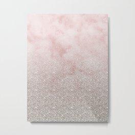 Beige glitter gradient on cotton candy clouds Metal Print