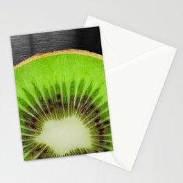 Bright Kiwi Fruit Metallic Background Stationery Cards